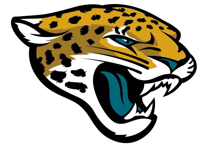 Jacksonville Jaguars Logo Primary Logo (2013-Pres) - Golden jaguar head with black spots, a teal tongue, and teal eyeball SportsLogos.Net