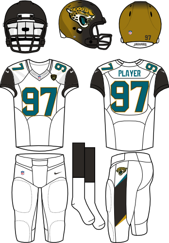 Jacksonville Jaguars Uniform Road Uniform (2013-2017) - Black/gold fading helmet (primary logo on the sides) with white jersey (with black shoulders) and white pants. Manufactured by Nike. SportsLogos.Net