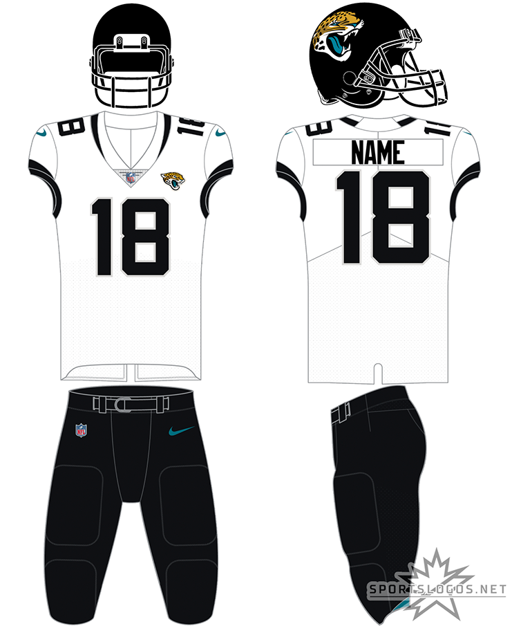 Jacksonville Jaguars Uniform Road Uniform (2019-Pres) - The Jackonsville Jaguars typically wear this simplified version of their previous set for road games. An all black helmet with a white jersey and black numbers with teal trim on the sleeves, shown here with black pants the uniform can, and frequently is, also worn with white or teal pants. SportsLogos.Net
