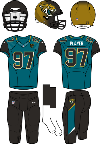 Jacksonville Jaguars Uniform Alternate Uniform (2013-2017) - Black/gold fading helmet (with primary logo on the sides) with teal jersey (with black shoulders) and black pants. Manufactured by Nike.  SportsLogos.Net