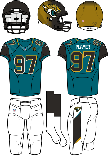 Jacksonville Jaguars Uniform Alternate Uniform (2013-2017) - Black/gold helmet (primary on the sides) with teal jersey (with black shoulders) and white pants. Manufactured by Nike SportsLogos.Net