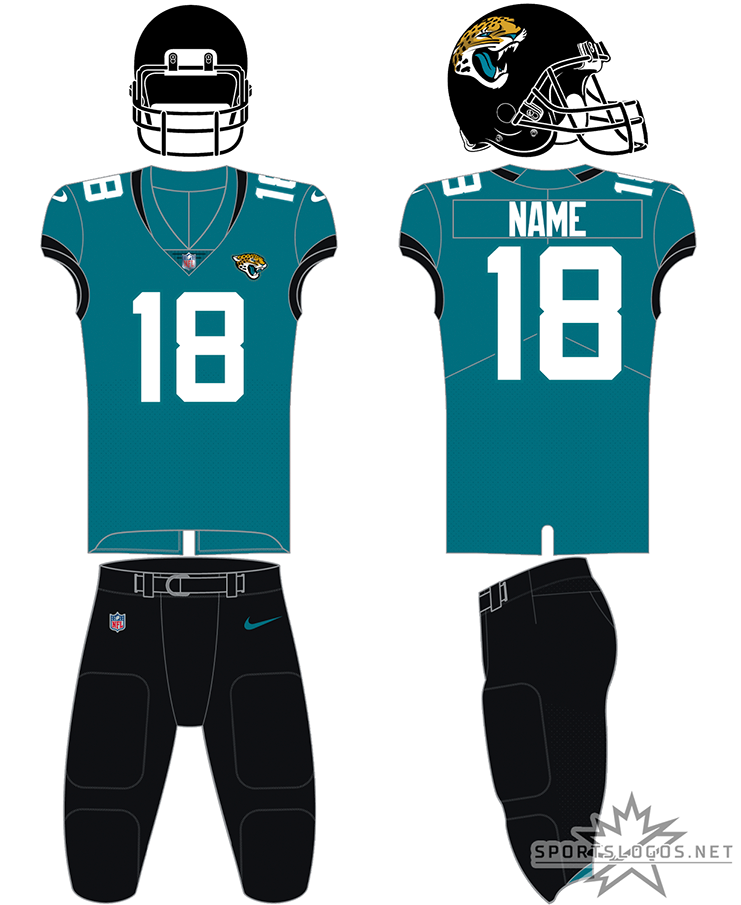 Jacksonville Jaguars Uniform Alternate Uniform (2019-Pres) - The Jackonsville Jaguars typically wear this simplified version of their previous set for 2 to 4 games each season. An all black helmet with a teal jersey and white numbers with black trim on the sleeves, shown here with black pants the uniform can, and frequently is, also worn with white or teal pants. SportsLogos.Net