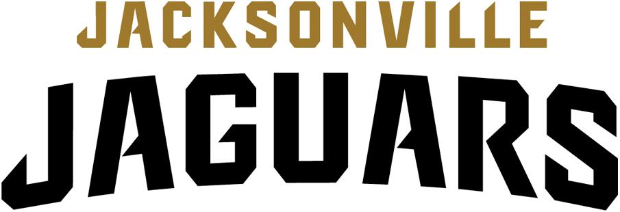 Jacksonville Jaguars Logo Wordmark Logo (2013-Pres) - Jacksonville in gold above Jaguars in black with a slight arch SportsLogos.Net