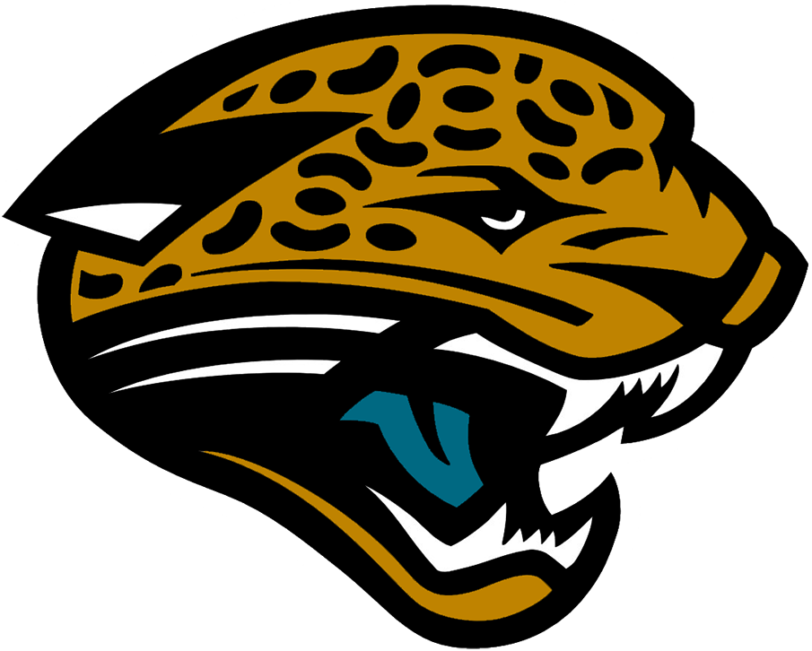 Jacksonville Jaguars Logo Primary Logo (1995-2001) - The original Jacksonville Jaguars logo featured a gold jaguar head with a splash of teal on its tongue and a black pattern on the jaguar's skin. The Jaguars used this logo from their inaugural season in 1995 right up through 2012 with an adjustment to the shade of gold made in 2002. SportsLogos.Net