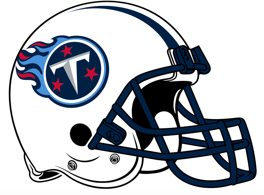 Tennessee Titans Helmet Helmet (1999-2017) - White helmet with navy, red and Titan blue logo, navy tapered stripes and navy facemask SportsLogos.Net