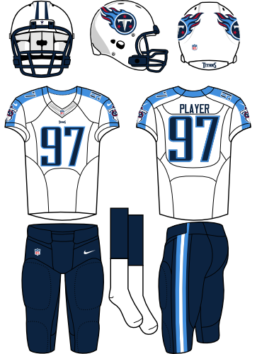 Tennessee Titans Uniform Road Uniform (2013-2017) - White helmet (primary logo on the sides) with white jersey (accented with navy) and navy pants. Manufactured by Nike.  SportsLogos.Net