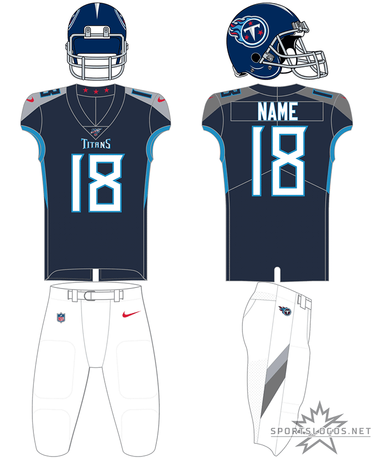 Tennessee Titans Uniform Home Uniform (2018-Pres) - Tennessee Titans navy blue uniform with white pants, interchangable with powder blue and navy blue pants SportsLogos.Net