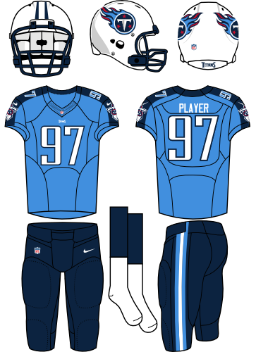Tennessee Titans Uniform Home Uniform (2012-2017) - White helmet (primary logo on the sides) with sky blue jersey (accented with navy) and navy pants. Manufactured by Nike. SportsLogos.Net