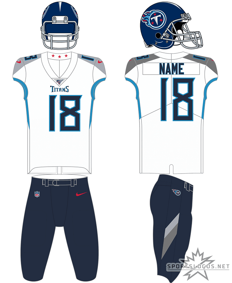 Tennessee Titans Uniform Road Uniform (2018-Pres) - Tennessee Titans white uniform with navy blue pants, interchangable with powder blue and white pants SportsLogos.Net