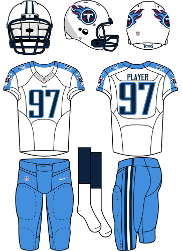 Tennessee Titans Uniform Road Uniform (2012-2017) - White helmet (primary logo on the sides) with white jersey (accented in sky blue) and sky blue pants. Manufactured by Nike. SportsLogos.Net
