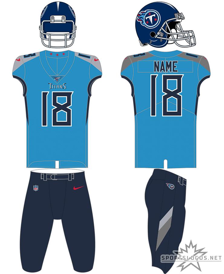 Tennessee Titans Uniform Alternate Uniform (2018-Pres) - Tennessee Titans powder blue uniform with navy blue pants, interchangable with powder blue and white pants SportsLogos.Net