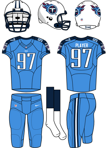 Tennessee Titans Uniform Home Uniform (2013-2017) - White helmet (primary logo on the sides) with sky blue jersey (accented with navy) and sky blue pants. Manufactured by Nike. SportsLogos.Net