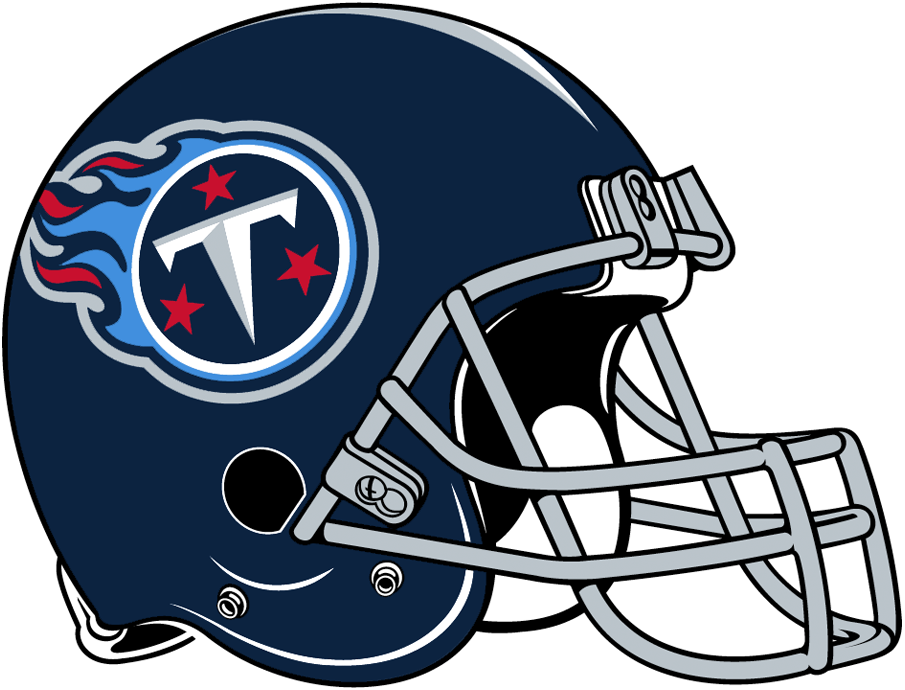 Tennessee Titans Helmet Helmet (2018-Pres) - Navy blue helmet with Titans logo on side, silver facemask SportsLogos.Net