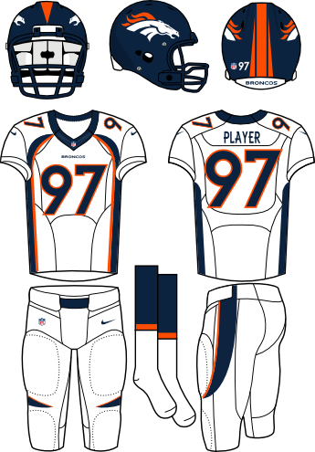 Denver Broncos Uniform Road Uniform (2013-Pres) - Navy helmet (primary logo on the sides) with white jersey (accented in navy) and white pants. Manufactured by Nike. Collar changed from 2012 to 2013. SportsLogos.Net