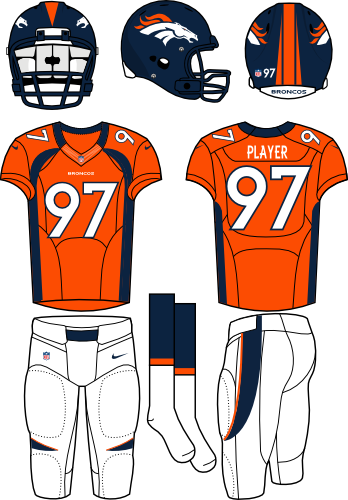 Denver Broncos Uniform Home Uniform (2012) - Navy helmet (primary logo on the sides) with orange jersey (accented in navy) and white pants. Manufactured by Nike. SportsLogos.Net