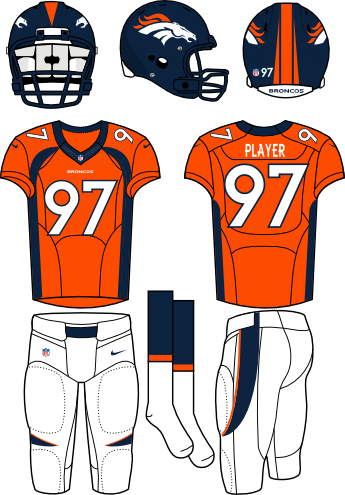 Denver Broncos Uniform Home Uniform (2013-Pres) - Navy helmet (primary logo on the sides) with orange jersey (accented in navy) and white pants. Manufactured by Nike. Collar changed from 2012 to 2013. SportsLogos.Net