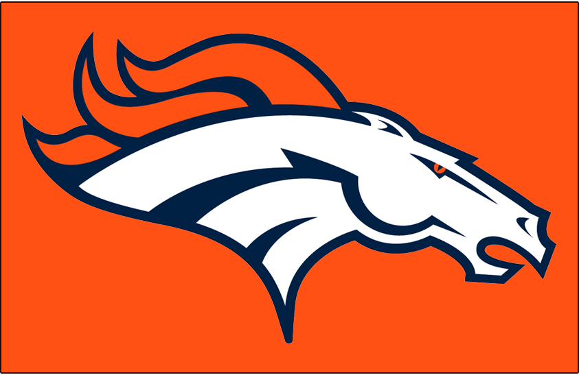 Denver Broncos Logo Primary Dark Logo (1997-Pres) - Denver Broncos primary logo on orange SportsLogos.Net
