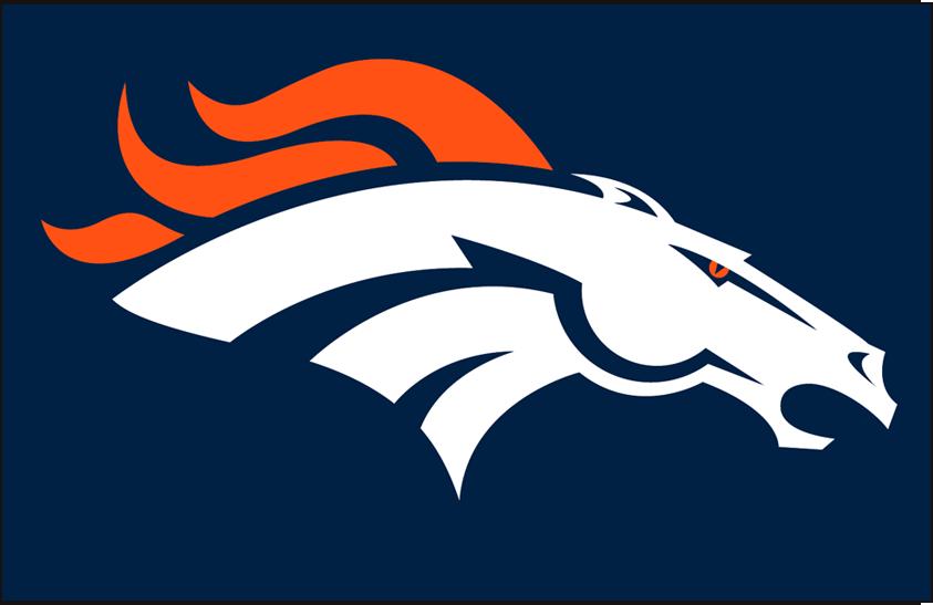 Denver Broncos Logo Primary Dark Logo (1997-Pres) - Denver Broncos primary logo on blue SportsLogos.Net