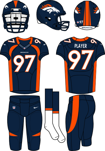 Denver Broncos Uniform Alternate Uniform (2012) - Navy helmet (primary logo on the sides) with navy jersey (accented in orange) and navy pants. Manufactured by Nike. SportsLogos.Net