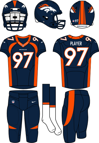 Denver Broncos Uniform Alternate Uniform (2013-Pres) - Navy helmet (primary logo on the sides) with navy jersey (accented in orange) and navy pants. Manufactured by Nike. Collar changed from 2012 to 2013 SportsLogos.Net