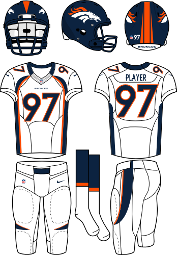Denver Broncos Uniform Road Uniform (2012) - Navy helmet (primary logo on the sides) with white jersey (accented in navy) and white pants. Manufactured by Nike. SportsLogos.Net