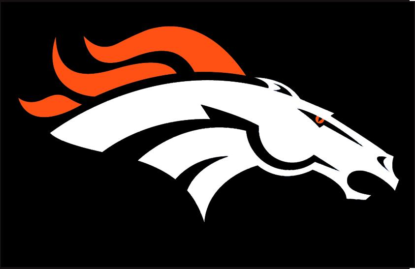 Denver Broncos Logo Primary Dark Logo (1997-Pres) - Denver Broncos primary logo on black SportsLogos.Net