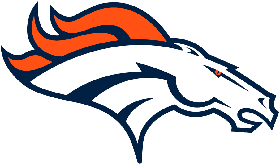 Denver Broncos Logo Primary Logo (1997-Pres) - White bronco head with orange mane, outlined in navy SportsLogos.Net