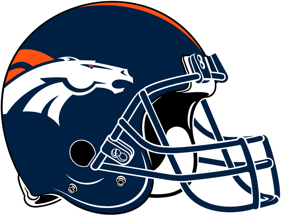 Denver Broncos Helmet Helmet (1997-Pres) - Navy helmet, white bronco logo with orange stripes, navy facemask SportsLogos.Net
