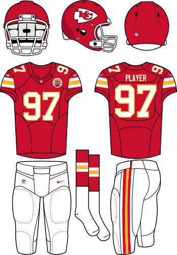 Kansas City Chiefs Uniform Home Uniform (2012-Pres) - Red helmet (primary logo on the sides) with red jersey (accente in white and yellow) and white pants. Manufactured by Nike. SportsLogos.Net
