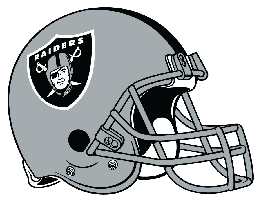 Oakland Raiders Helmet Helmet (1995-2019) - Silver helmet, shield logo with black stripe, grey facemask SportsLogos.Net