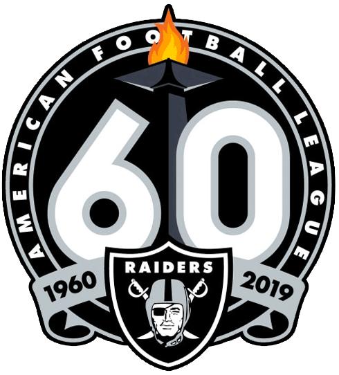 Oakland Raiders Logo Anniversary Logo (2019) - 60th season anniversary logo for Oakland - Los Angeles Raiders franchise SportsLogos.Net