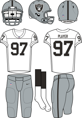 Oakland Raiders Uniform Road Uniform (2012-2019) - Silver helmet (primary logo on both sides) with white jersey and silver pants. Manufactured by Nike. SportsLogos.Net