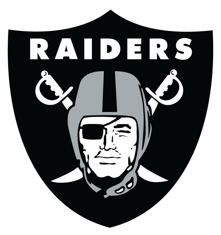 Oakland Raiders Logo Primary Logo (1995-2019) - Raider head in front of crossed swords with script in white inside black shield SportsLogos.Net