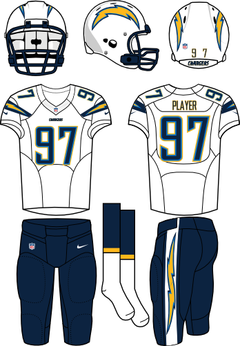 San Diego Chargers Uniform Road Uniform (2013-2016) - White helmet (primary logo on both sides) with white jersey (accented with bolts) and navy pants. Manufactured by Nike. Change collar, nameplates, and added sock stripes.  SportsLogos.Net