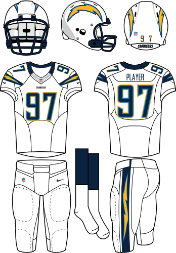 San Diego Chargers Uniform Road Uniform (2012) - White helmet (primary logo on both sides) with white jersey (accented with bolts) and white pants. Manufactured by Nike. SportsLogos.Net