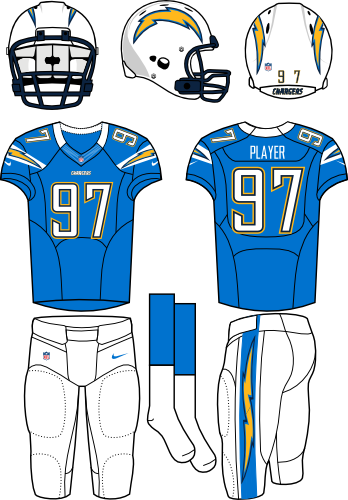 San Diego Chargers Uniform Alternate Uniform (2012) - White helmet (primary logo on both sides) with light blue jersey (accented with bolts) and white pants. Manufactured by Nike. SportsLogos.Net