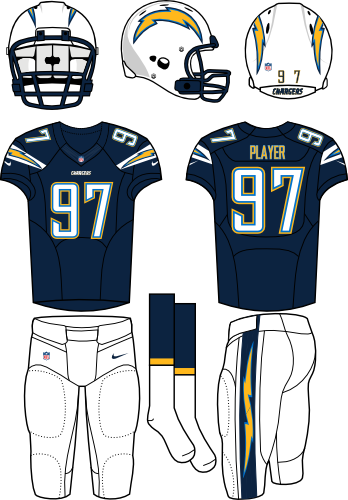 San Diego Chargers Uniform Home Uniform (2013-2016) - White helmet (primary logo on both sides) with navy jersey (accented with bolts) and white pants. Manufactured by Nike. Change collar, nameplates, and added sock stripes. SportsLogos.Net