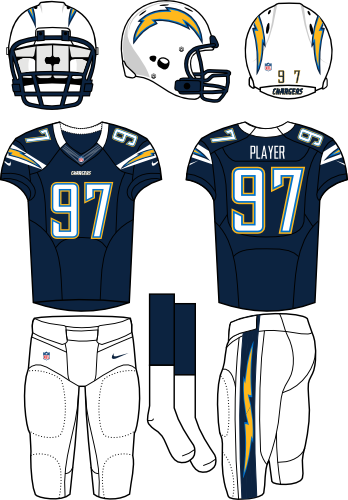 San Diego Chargers Uniform Home Uniform (2012) - White helmet (primary logo on both sides) with navy jersey (accented with bolts) and white pants. Manufactured by Nike. SportsLogos.Net