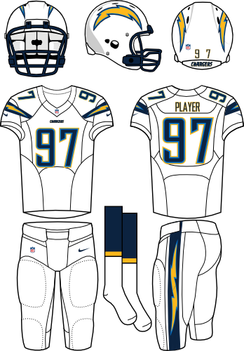 San Diego Chargers Uniform Road Uniform (2013-2016) - White helmet (primary logo on both sides) with white jersey (accented with bolts) and white pants. Manufactured by Nike. Change collar, nameplates, and added sock stripes.  SportsLogos.Net