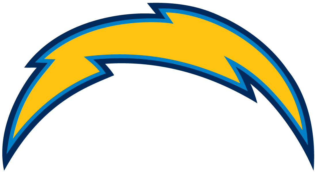 San Diego Chargers Logo Primary Logo (2007-2016) - Gold lightning bolt, powder blue and navy outline SportsLogos.Net