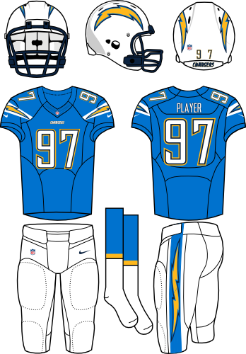 San Diego Chargers Uniform Alternate Uniform (2013-2016) - White helmet (primary logo on both sides) with light blue jersey (accented with bolts) and white pants. Manufactured by Nike. Changed collar, nameplates, and added sock stripes.  SportsLogos.Net