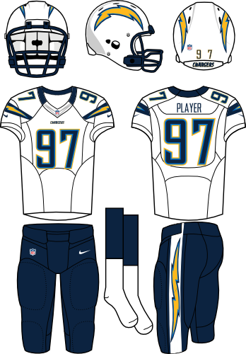 San Diego Chargers Uniform Road Uniform (2012) - White helmet (primary logo on both sides) with white jersey (accented with bolts) and navy pants. Manufactured by Nike. SportsLogos.Net
