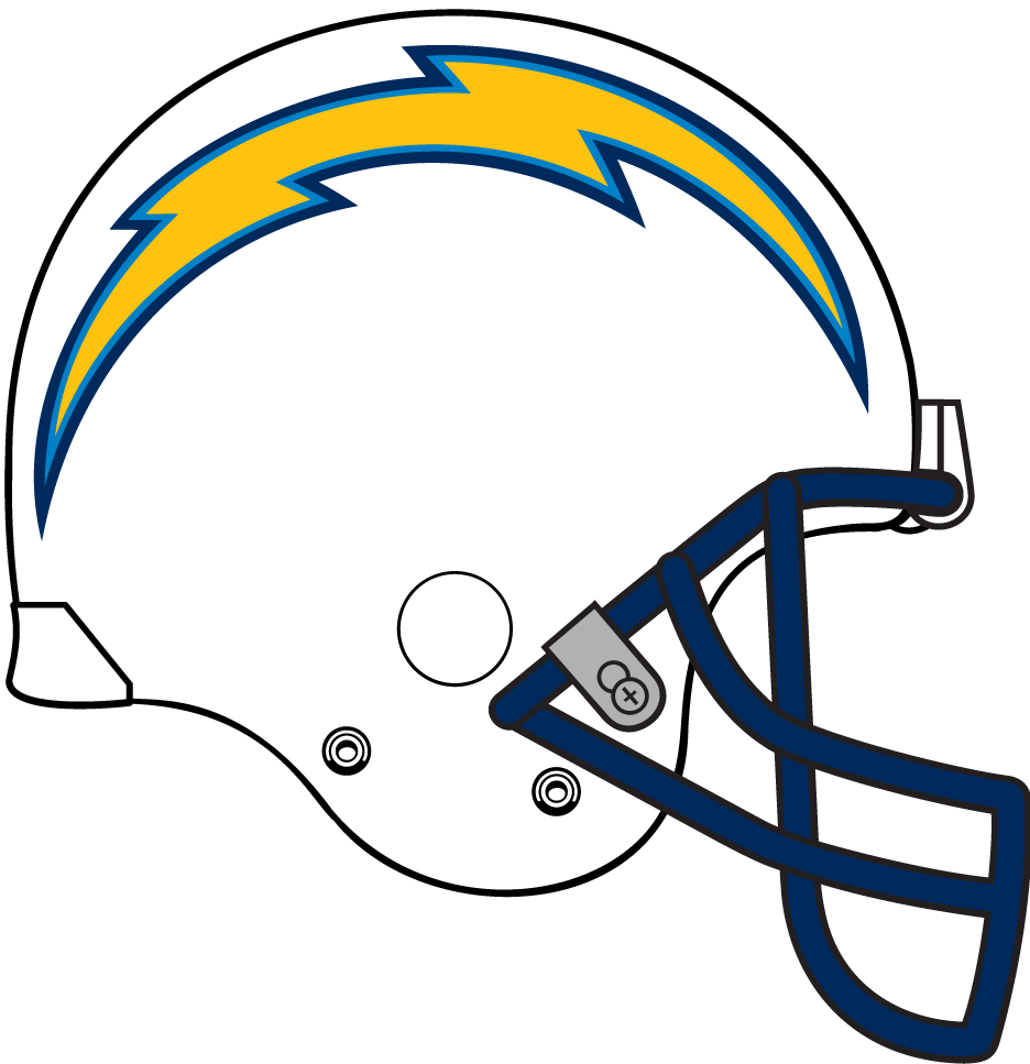 San Diego Chargers Helmet Helmet (2007-2016) - Metallic white helmet, gold lighting bolt with powder blue and navy outline, navy facemask 