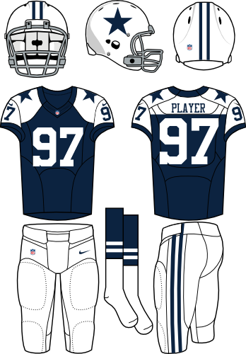 Dallas Cowboys Uniform Alternate Uniform (2012-Pres) - White helmet and pants with navy jersey. Manufactured by Nike. SportsLogos.Net
