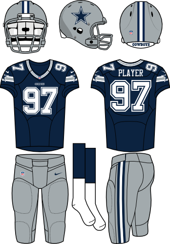Dallas Cowboys Uniform Home Uniform (2012-Pres) - Silver helmet and pants with a navy jersey. Manufactured by Nike. SportsLogos.Net