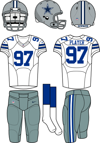 Dallas Cowboys Uniform Road Uniform (2012-Pres) - Silver helmet, silver-blue pants, and white jersey. Manufactured by Nike. SportsLogos.Net