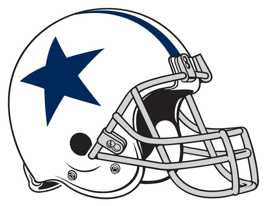 Dallas Cowboys Helmet Helmet (1960-1963) - White helmet with blue stripes and blue star on side. Computer graphical representation courtesy Dustin Juliano. SportsLogos.Net