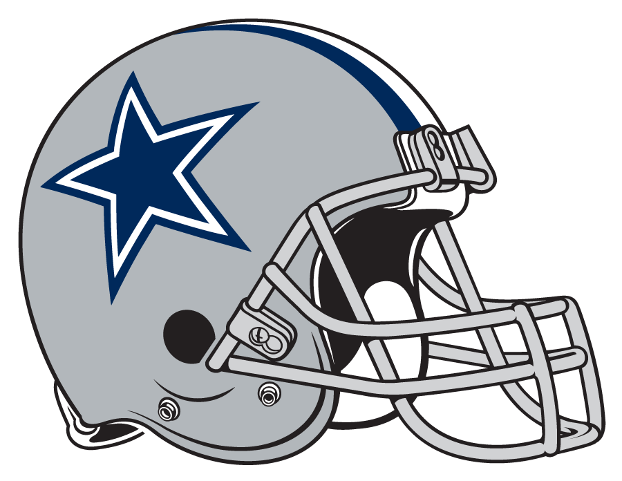 Dallas Cowboys Helmet Helmet (1977-Pres) - Silver helmet with blue and white stripes and a blue star on the side. Computer graphical representation courtesy Dustin Juliano. SportsLogos.Net