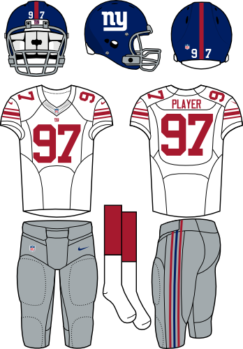 New York Giants Uniform Road Uniform (2012-Pres) - Blue helmet with white jersey (accented in red) and gray pants. Manufactured by Nike. SportsLogos.Net
