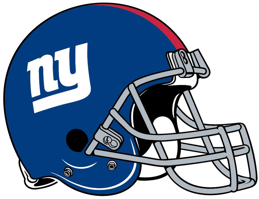 New York Giants Helmet Helmet (2000-Pres) - Metallic blue helmet with red stripe.  Computer graphical representation courtesy Dustin Juliano. SportsLogos.Net